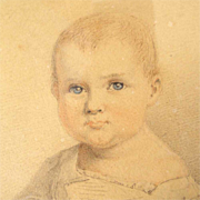 Water Color Portrait of a Child German  Listed Artist 1839