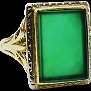 SALE PENDING Handsome Chrysoprase Gold Ring Fine Art Deco Era