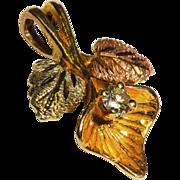 SALE Precious Diamond 3 Gold Pendant Leaf Fine Black Hills Gold