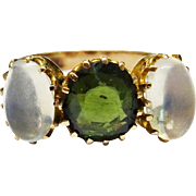 SALE Victorian Moonstone Green Tourmaline 10K Rose Gold 3 Stone Ring Fine
