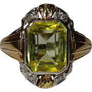 SALE Very Nice 3 Gold Diamond Canary Sapphire Ring Vintage Fine