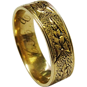 SALE REDUCED!  Victorian 12K Gold Leaf Band Ring Fine Hand Chased Wedding Band