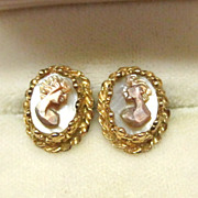 SALE Vintage 12K YG Black Mother of Pearl Cameo Earrings Fine