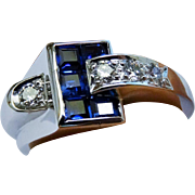 SALE Diamond Sapphire Ring Buckle Ring Art Deco Retro Fine