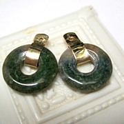SALE 14K Yellow Gold Nephrite Jade Earring Jackets Fine