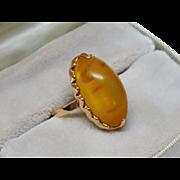 SALE PENDING Vintage Amber 14K Rose Gold Ring Russian Fine