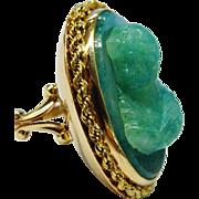 SALE Outstanding Aventurine 14K Gold Carved Cameo Ring Fine Vintage OOAK