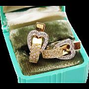 SALE Exquisite Diamond Gold Heart Earrings Huggie Fine