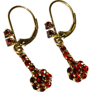 SALE Garnet Cluster 14K Gold Drop Earrings Fine Vintage
