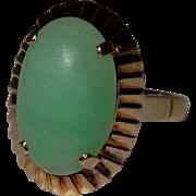 SALE Vintage Jadeite Jade 14K Gold Ring Fine
