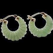 SALE 14K Yellow Gold Jadeite Jade Shrimp Hoop Earrings Fine