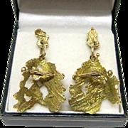 SALE MaceField 14K Yellow Gold Modernist Post Dangle Earrings Fine