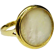 SALE Shimmering Mother of Pearl 14K Yellow Gold Ring Fine Vintage