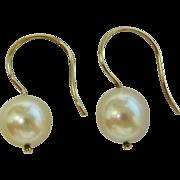 SALE Lovely 14K Y G Cultured Saltwater Akoya Pearl drop Earrings Fine
