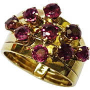 SALE Rubies 14K Yellow Gold Stack Ring Fine Vintage Cluster