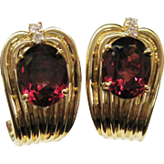 SALE Rubellite Tourmaline 14K Gold Huggie Earrings Fine