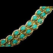 SALE Gorgeous 14K Gold Turquoise Bead Bracelet Fine Vintage Caged