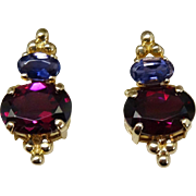 SALE Gorgeous 14K Gold Tanzanite Rubellite Tourmaline Earrings Fine