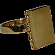 SALE Gorgeous Yellow Jadeite Jade 14K Gold Ring Fine Vintage