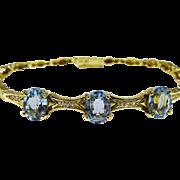 SALE Elegant 18K Gold Diamond Blue Topaz Bracelet Fine Vintage