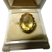 SALE Antique Citrine Cameo 18K Yellow Gold Ring Art Nouveau Fine Carved