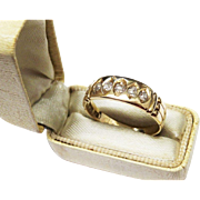 SALE Antique 18K Gold Diamond Five Stone Ring Fine