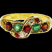 SALE Antique Diamond Ruby Emerald 18K Gold Ring Fine