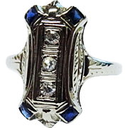 SALE Beautiful Diamond Sapphire 18K White Gold Ring Fine  Retro Era