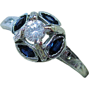 SALE 20K Gold Diamond Sapphire Ring Art Deco Fine