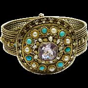 SALE Fabulous Gemstone 935 Silver Gilt Cannetille Bangle Bracelet European Fine