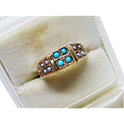 SALE Victorian Turquoise Seed Pearl Gold Ring Fine