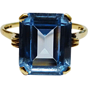 SALE Lovely Blue Topaz 9K Yellow Gold Ring Fine Vintage Emerald-Cut