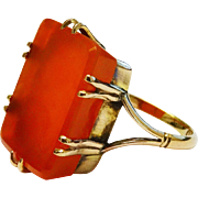 SALE Massive Antique Carnelian 9K Yellow Gold Ring Fine