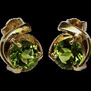 SALE Stylish Peridot Gold Earrings Post Contemporary 2 Carats