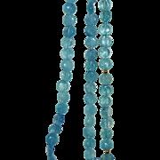 SALE Gorgeous Genuine Aquamarine Bead Triple Strand Necklace 14K Gold Clasp Fine