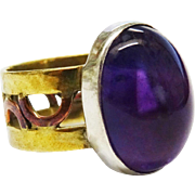 SALE Modernist Amethyst Cabochon Ring Mixed Metals