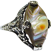 SALE Arts & Crafts Blister Pearl Sterling Filigree Floral Ring Fine