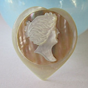 SALE Vintage Carved MOP Abalone Cameo Pin