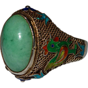 SALE Vintage Chinese Jadeite Jade Gilt Silver Filigree Enamel Rooster Ring Fine
