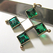 SALE Edwardian 9K Yellow Gold Emerald Paste Pendant Fine