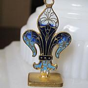 SALE French Enamel Fleur de Lis Pendant Fob Vintage