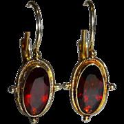 Pretty Garnet Vermeil Sterling Drop Earrings Vintage