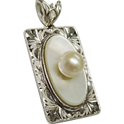 SALE Fine Cultured Pearl MOP Sterling Chased Pendant Vintage