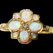 SALE Pretty Diamond Opal Gold Cluster Ring Vintage Fine