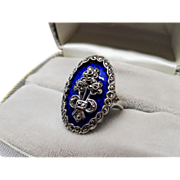 SALE Outstanding Vintage Blue Enamel Sterling Silver Ring Marcasite