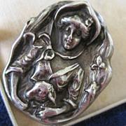 SALE Sterling Little Bo Peep Figural brooch High Relief