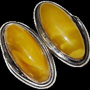 SALE Baltic Egg Yoke Amber Sterling Silver Clip Earrings Fine Vintage