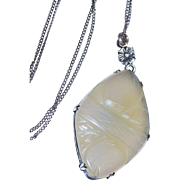 Vintage Chalcedony Sterling Pendant with Chain Carved Fine