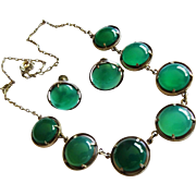 SALE Reduced!  Deco Chrysoprase Cabochon Sterling Earrings Necklace Set Fine