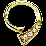 SALE Diamond 14K Gold Pendant Modernist Estate Fine